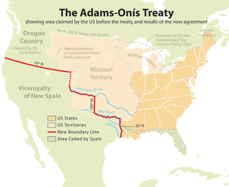 Mapa del Tratado adams onis de 1819
