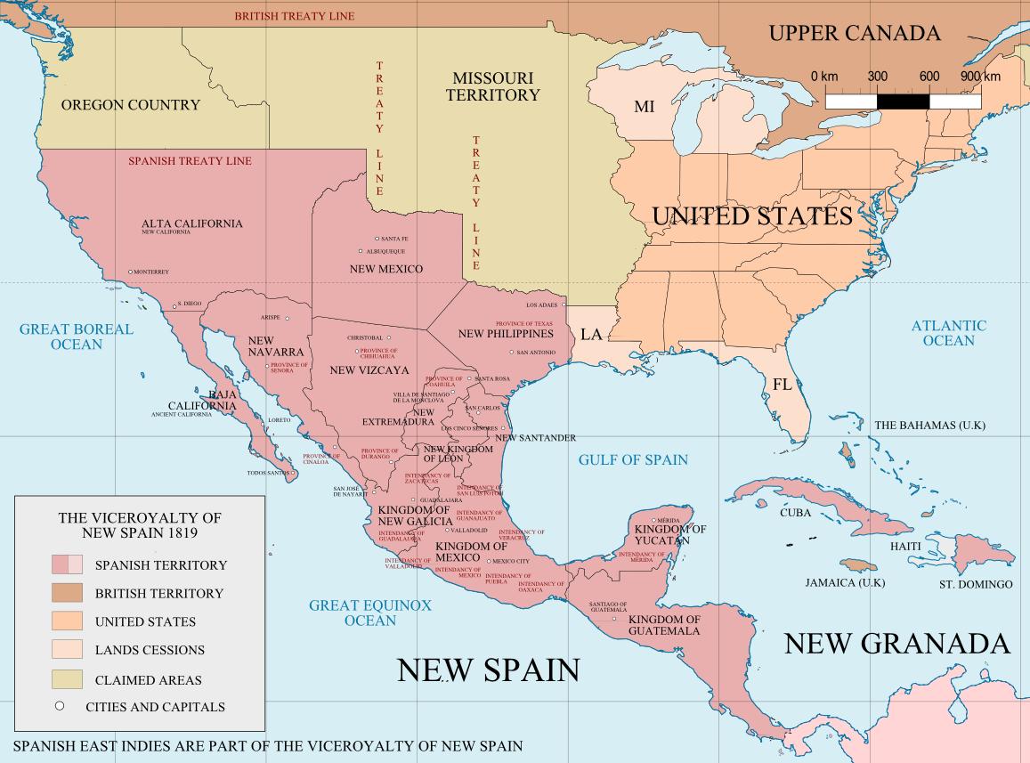 Mapa de la Nueva España hacia 1819